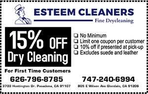 Esteem Cleaners 15% Off Dry Cleaning